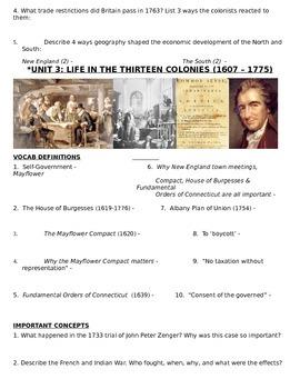 US History 11th grade (1st Sem) Reading Guide Units 1-10 - REGENTS ALIGNED FREE!
