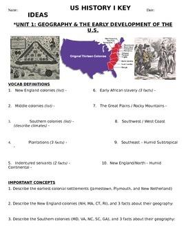 US History - 11th grade - 1st Semester - Reading Guide (Units 1-10)