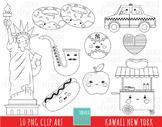 NEW YORK digi stamp, big apple stamp, travel, statue of liberty, taxi, jazz