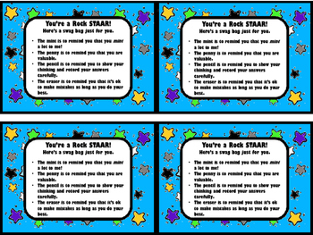 **FREEBIE** You're a Rock STAAR! Swag Bags for the STAAR test (For TX Teachers)