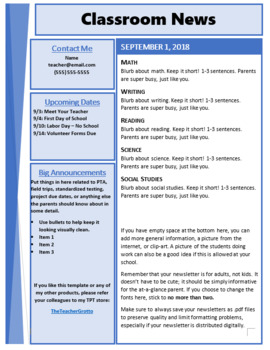NEWSLETTER TEMPLATE {BLUE, ONE PAGE}