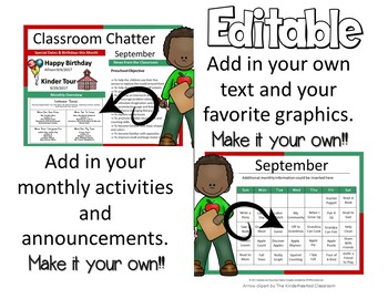 NEWSLETTERS - CALENDARS EDITABLE - CLASSROOM CHATTER - MONTHLY