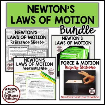 NEWTON'S LAWS OF MOTION BUNDLE! Stations/Reference Sheets/Task Cards/Assessments