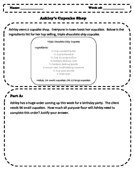 NF Fraction Problem Solving Situation - Ashley's Cupcake Shop