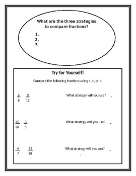 NF1 Comparing Fractions Interactive Notebook
