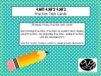 Fraction Skills Task Cards - 4th Grade