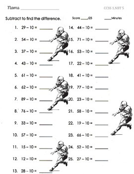 Common Core 1st Grade Math-Football Addition and Subtraction