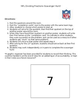 NFL Dividing Fractions Scavenger Hunt
