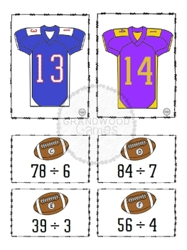 NFL Football Card Sorts: Division (2-digit by 1-digit, no remainders)