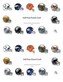 NFL Hall Pass Punch Card