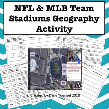 NFL & MLB Team Stadiums Geography Activity Using Google Earth