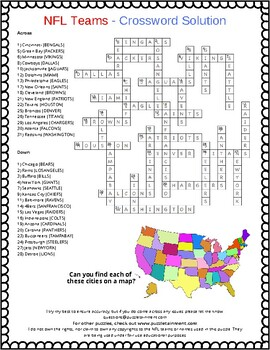 NFL Teams Crossword Puzzle (Fun activity for early finishers with answers)