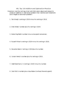 NFL Top 100 Addition and Subtraction