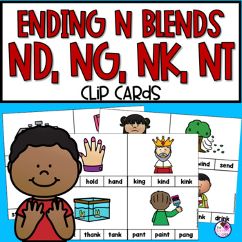Ending Blends Consonant Clip Cards With NG, NK, ND, NT