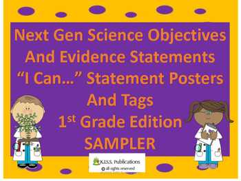 "NG Science "" I Can..."" Statements for 1st Grade SAMPLE"