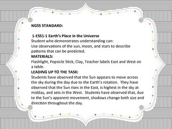 NGSS 1-ESS1-1 Performance Task 1st Grade Earth's Place in the Universe