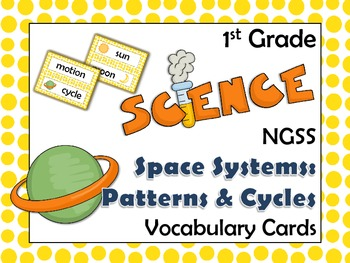 NGSS 1st Grade Science Vocabulary Cards: Space Systems Pat