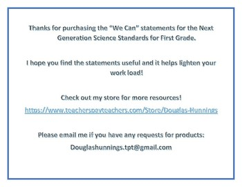 "NGSS 1st Grade ""We Can"" Statements"