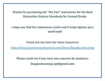 """NGSS 2nd Grade """"We Can"""" Statements"""