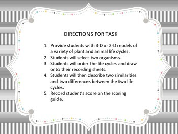 NGSS 3-LS1-1 Life Cycles Performance Task
