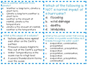 NGSS 3rd Grade Weather and Climate Task Cards