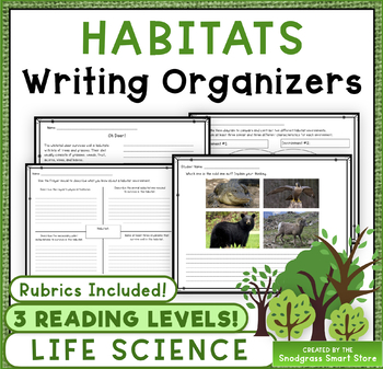 Habitats 3rd Grade Writing Prompts - Life Science (NGSS 3-LS4-3)