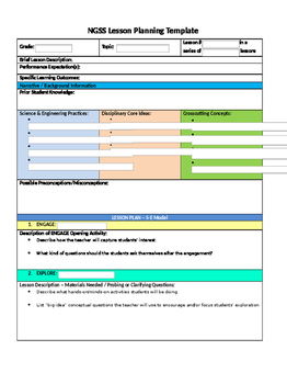 NGSS 5 E Interactive Lesson Plan Template