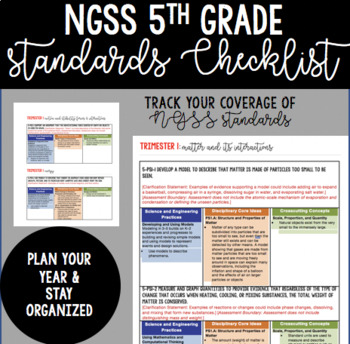 NGSS 5th Grade Complete Standards Checklist