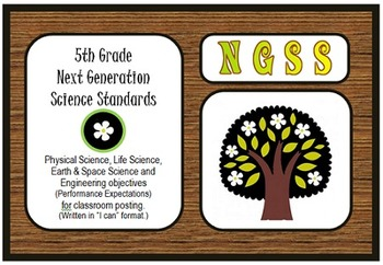 "NGSS 5th Grade Standards ""I can"" poster, practices, and checklists"