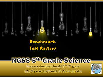 NGSS 5th Grade Science Benchmark Test Prep and Game Cards