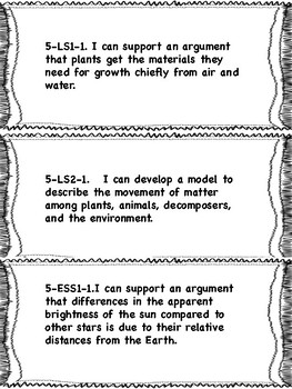 """NGSS 5th grade """"I can"""" Statements"""