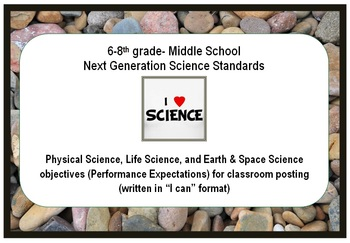 "NGSS 6-8 Middle School Standards ""I can"" poster, practices, checklists"