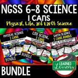 NGSS 6-8 Science I Cans, NGSS Self Assessment BUNDLE with