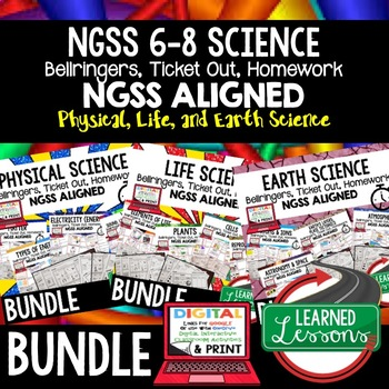 NGSS 6-8 Science Warm Ups & Bell Ringers, NGSS Science BUNDLE, Digital