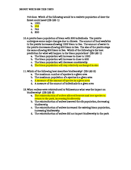 NGSS Aligned Test for PE HS-LS2-1, HS-LS2-2, HS-LS2-4 with Answers