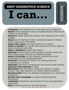 """""""All-in-One"""" Standards Poster - 4th Grade - use with Next Generation Science"""