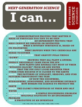 """""""All-in-One"""" Standards Poster - 5th Grade - use with Next Generation Science"""