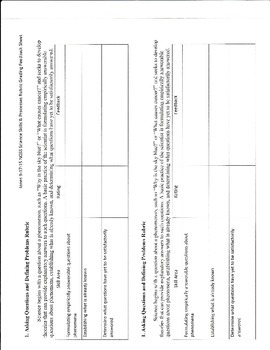 NGSS Asking Questions and Defining Problems Science Skills Rubric