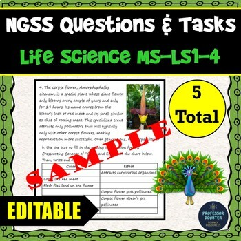 NGSS Assessment Tasks and Test Questions MS-LS1-4 Traits Increase Reproduction