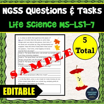 NGSS Assessment Tasks and Test Questions MS-LS1-7 Food Forms New Molecules
