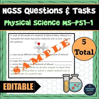 NGSS Assessment Tasks and Test Questions MS-PS1-1 Model Atoms and Molecules