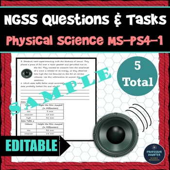 NGSS Assessment Tasks and Test Questions MS-PS4-1 Waves Amplitude and Energy