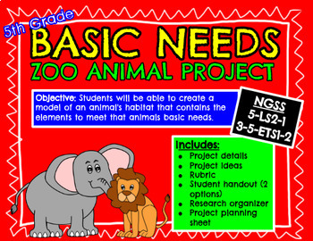 NGSS Basic Needs Project - Zoo Animal Exhibit - 5-LS2-1, 3-5-ETS1-2 (5th Grade)