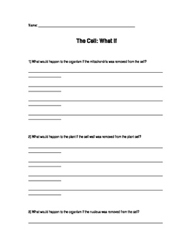 """NGSS - Cell """"What If"""" Questions"""