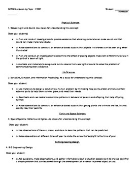 NGSS Checklist First Grade