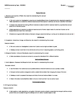 NGSS Checklist Second Grade