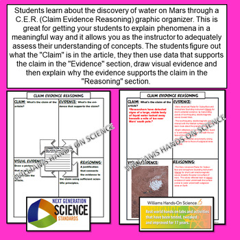 NGSS Claim Evidence Reasoning (CER) Water Found on Mars