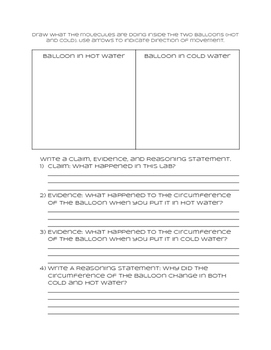 NGSS Claim, Evidence, and Reasoning Sheet for use with the TE Balloon Lab