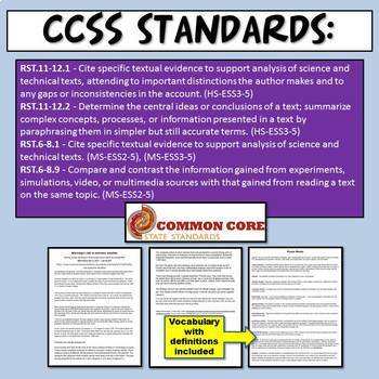 NGSS Climate Change & Extreme Weather Claim Evidence Reasoning