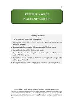 NGSS Earth & Space Science Astronomy Lesson Plan #30 Kepler's Laws